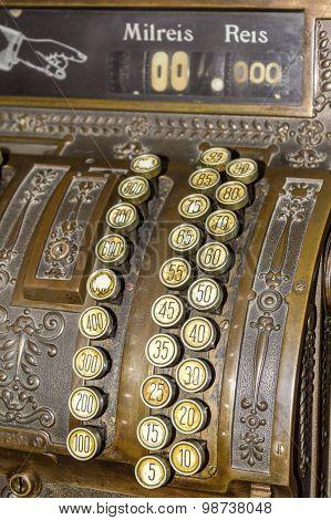 Keyboard Closeup Of An Antique Cash Register.