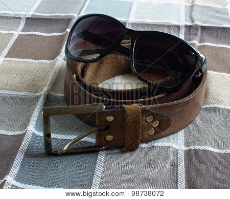 Leather Belt, Sunglasses, Checkered Background
