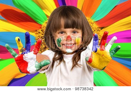 Little Beautiful Girl And Paint