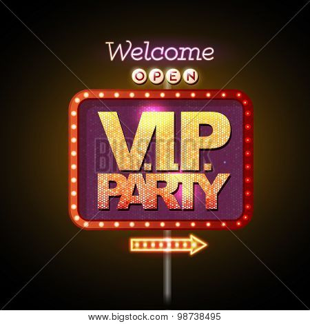 Neon Sign V.i.p. Party Welcome
