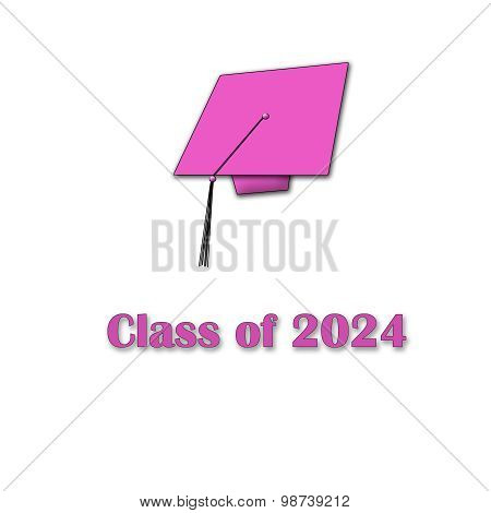 Class of 2024 Pink on White Single Large