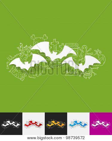bat paper sticker with hand drawn elements