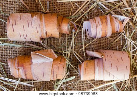 Birch Bark On Rude Burlap Background