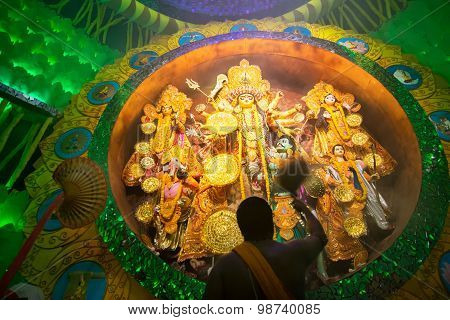 Priest Praying To Goddess Durga, Durga Puja Festival Celebration