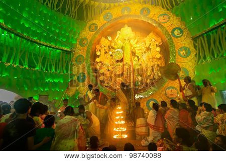 Priests Praying To Goddess Durga, Durga Puja Festival Celebration Inside Durga Puja Pandal.