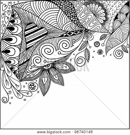 Abstract decorative floral ornamental doodles vector background