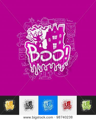 boo paper sticker with hand drawn elements