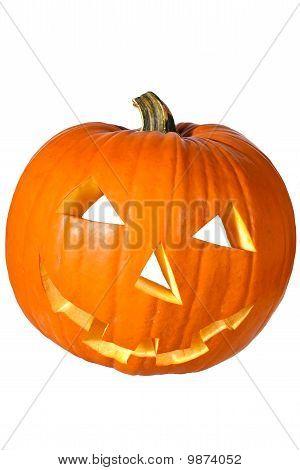 Halloween Pumpkin On Edge Isolated