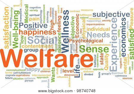 Background concept wordcloud illustration of welfare