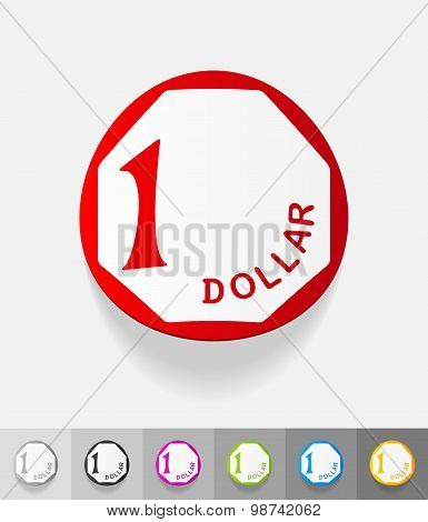 realistic design element. one singaporean dollar