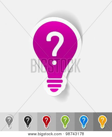 realistic design element. light bulb with a question mark