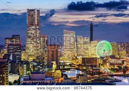 Yokohama, Japan at the Minato Mirai skyline at dusk.