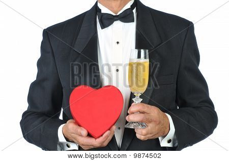 Man In Tux With Champagne And Heart