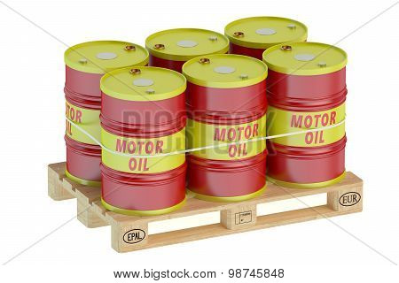 Motor Oil Barrels On Pallet