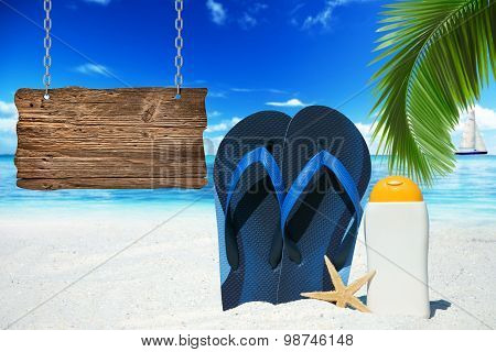 Flip Flops And Wooden Signboard
