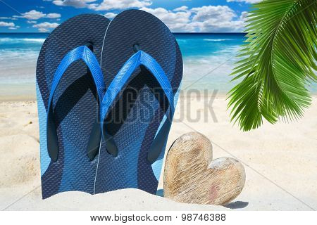 Blue Flip Flops And Wooden Heart
