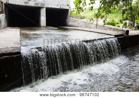 Water Stream Flowing Out The Underground Tunnel