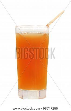 Orange Juice Glass With Straw.isolated On White.