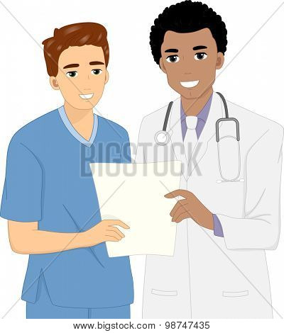Illustration of a Doctor and a Nurse Discussing Patient Medical Information