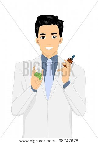 Illustration of a Man Holding a Bottle of Capsule in One Hand a Vial of Medicine in the Other