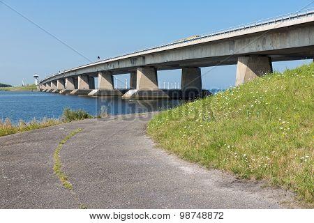 Big Concrete Bridge In The Netherlands