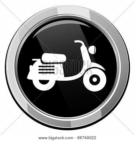 Scooter. Black Round Icon.