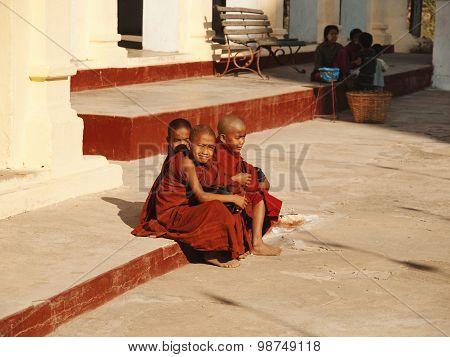 Burmese Young Monks In Shwezigon Pagoda, Bagan