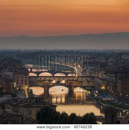 Ponte Vecchio in Florence Italy during sunset