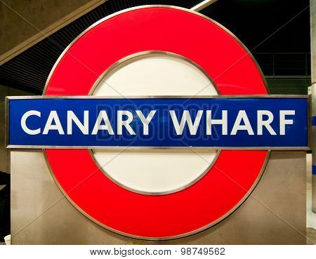 Canary Wharf Underground Sign, London