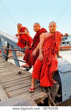 Monks On The Bridge, Yangon