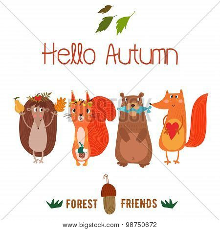 Vector Autumn Card With Wreath From Leaves And Acorns. Vintage Autumn Card With Cute  Hedgehog,squir