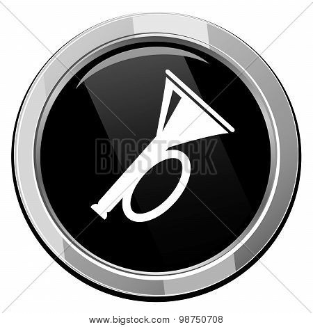 Horn. Black Round Icon. Vector Illustration.