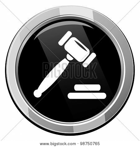Auction Gavel Round Black Icon.