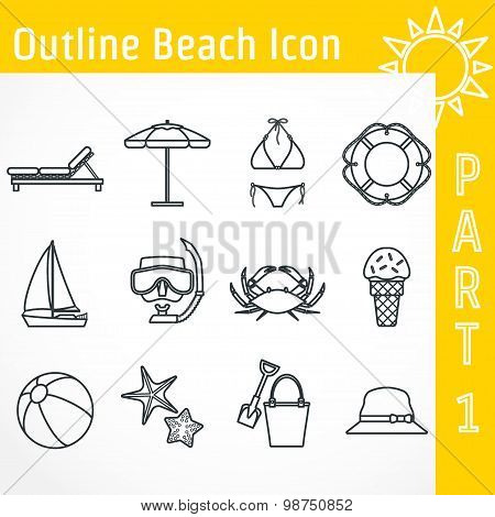 Outline Beach Icon