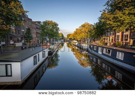 Boat House On Canals In Amsterdam Netherland