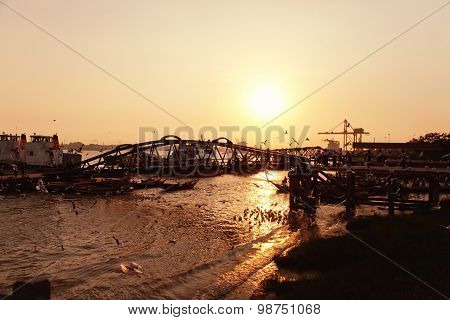 Yangon Pier At Sunset