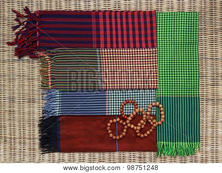 Colorful Traditional Khmer Scarfs And Beads
