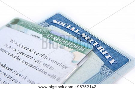 United States of America social security and green card on white background