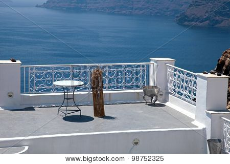 White Terrace Overlooking Sea In Oia, Santorini