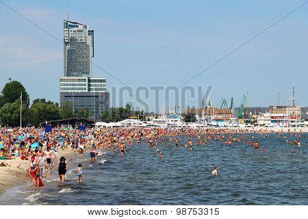 Crowded Public Beach In Gdynia On Baltic Sea
