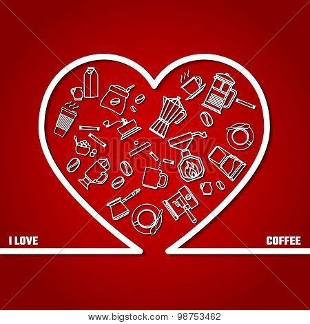 Love Coffee Outline