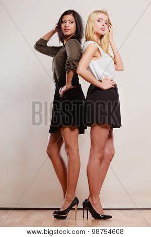 Two Fashion Women African And Caucasian Posing