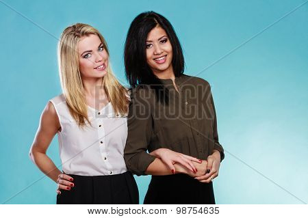 Two Woman Black And White Portrait