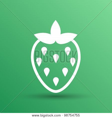 Vector monochrome illustration of strawberries logo food