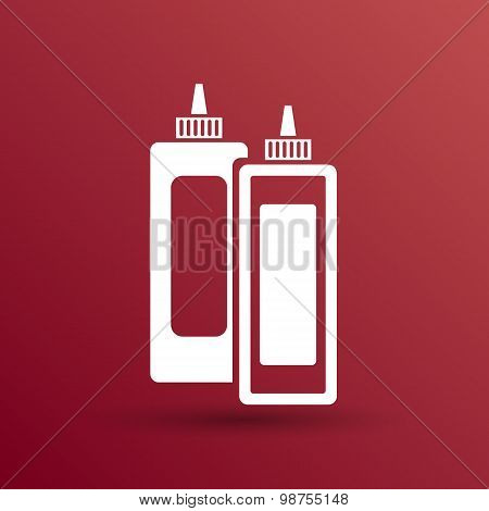 Ketchup mustard and mayonnaise logo icon food