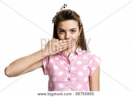 Brunette Girl Sending Air Kiss