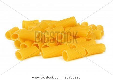 Rigatoni pasta isolated on white