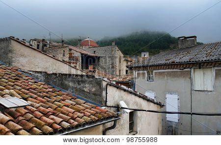 Rooftop View Of A Small French Village