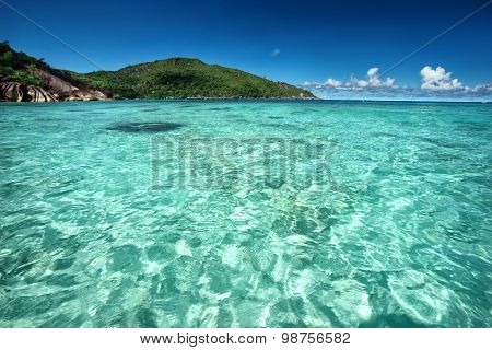 Beautiful Sunny Tropical Island In The Middle Of The Sea