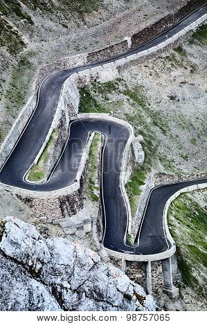 Hairpins At The Stelvio Pass Road